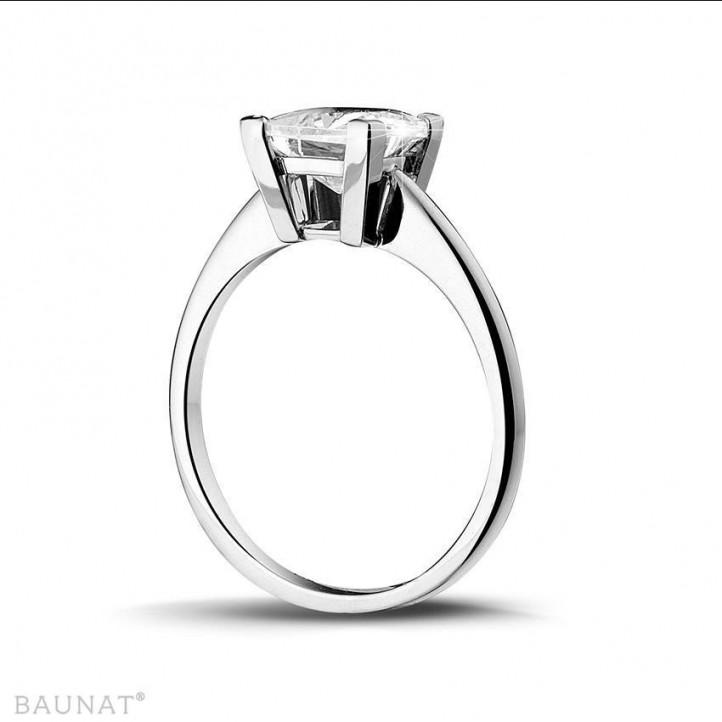 2.50克拉白金公主方鑽戒指