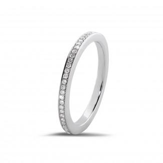 經典婚戒 - 0.22克拉白金密鑲鑽石戒指