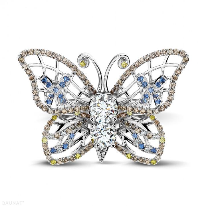 設計系列2.00克拉白金鑽石蝴蝶戒指