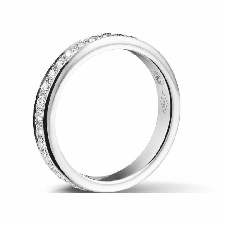 0.68克拉白金密鑲鑽石戒指