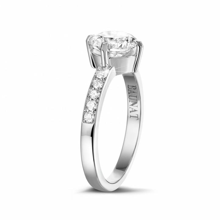 1.50克拉白金單鉆戒指 - 戒托密鑲小碎鉆