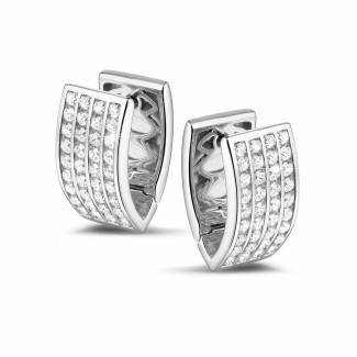 白金鑽石耳環 - 2.16克拉白金密鑲鑽石耳釘