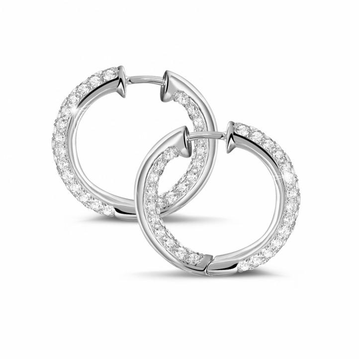 2.15 克拉白金密鑲鑽石耳環