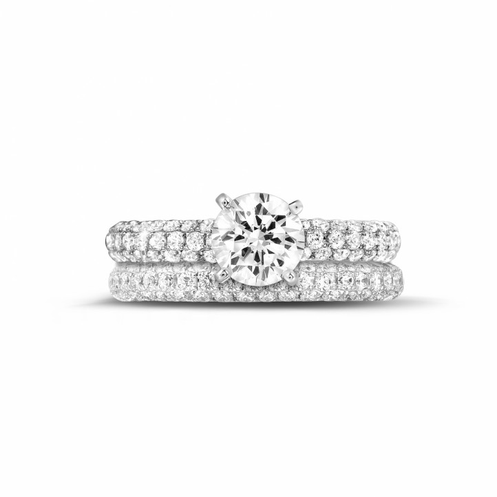 1.20克拉白金單鑽戒指 - 戒環密鑲碎鑽 - 訂婚/結婚對戒