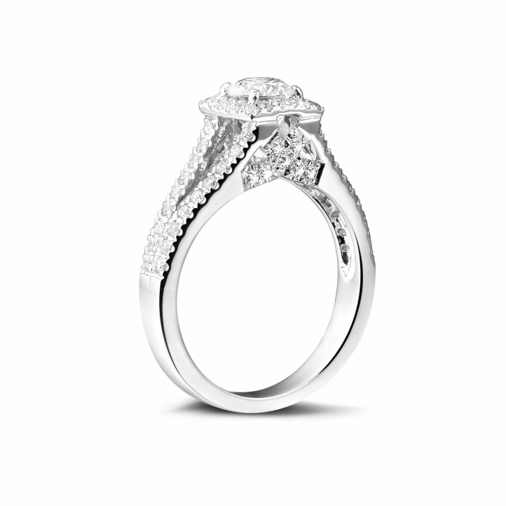 0.50克拉白金單鑽戒指 - 巴黎鐵塔款式 - 戒托密鑲小圓鉆