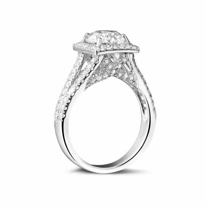 1.50克拉白金單鑽戒指 - 巴黎鐵塔款式 - 戒托密鑲小鑽