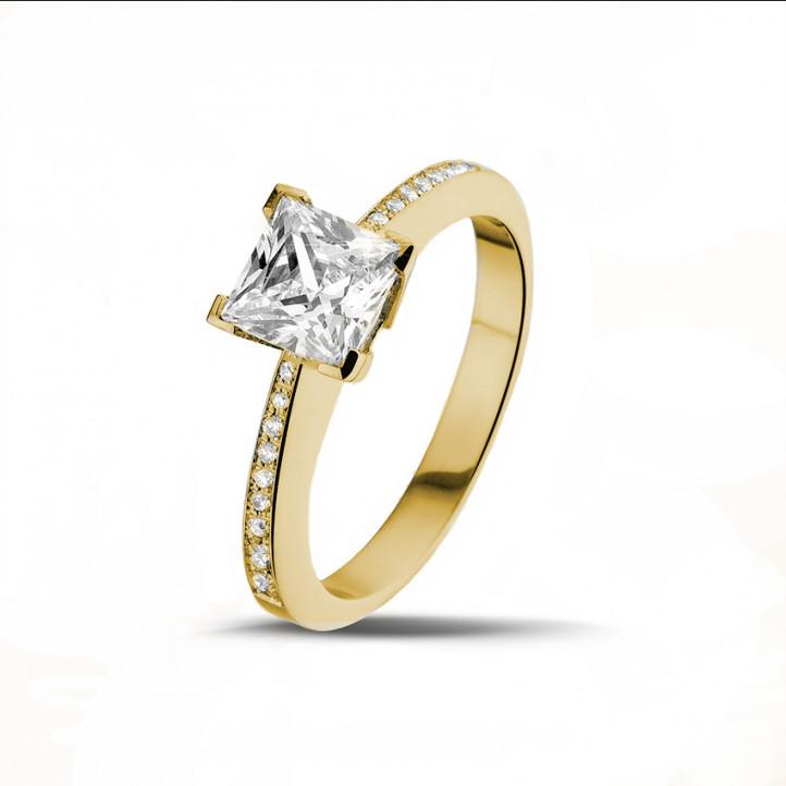 1.50克拉黃金公主方鑽戒指 - 戒托群鑲小鑽