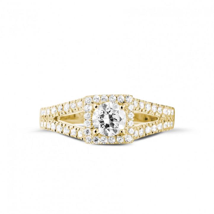 0.50克拉黃金單鑽戒指- 戒托群鑲小鑽