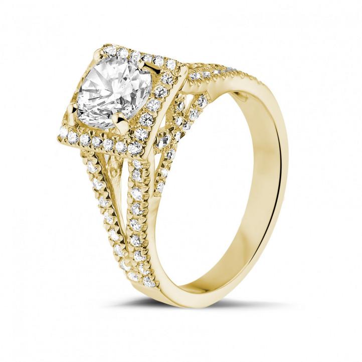 1.20克拉黃金單鑽戒指- 戒托群鑲小鑽