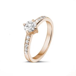 0.50 克拉玫瑰金單鑽戒指- 戒托群鑲小鑽