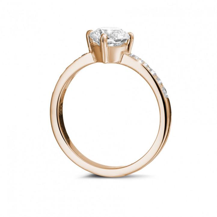 1.00克拉玫瑰金單鑽戒指- 戒托群鑲小鑽
