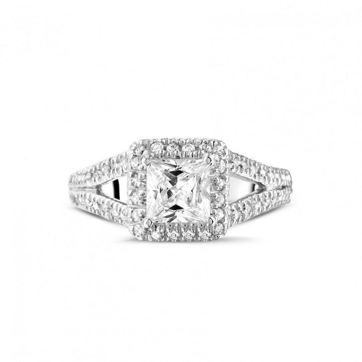 1.00克拉白金公主方鑽戒指 - 戒托群鑲小鑽