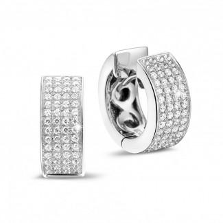 白金鑽石耳環 - 0.75 克拉白金密鑲鑽石耳環