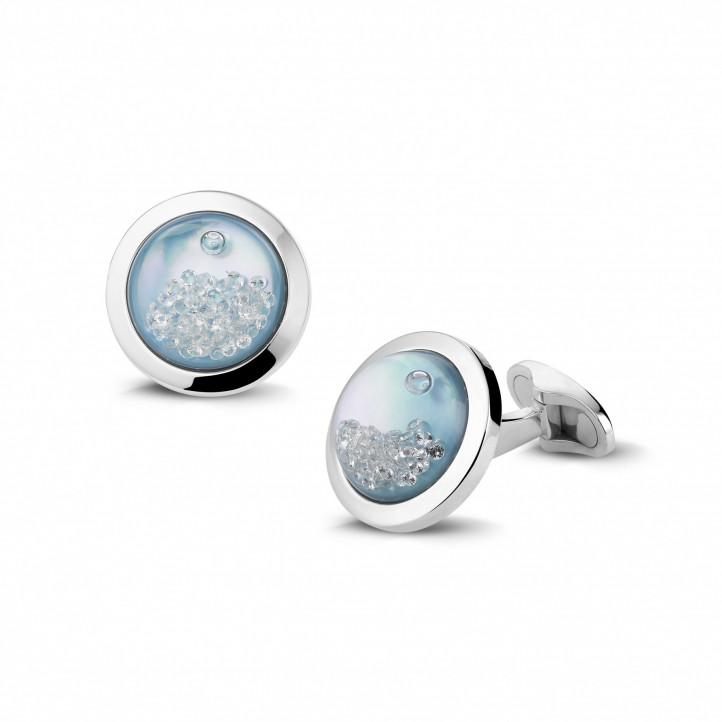 白金藍色珍珠母圓鑽袖扣
