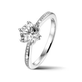 鑽石戒指 - BAUNAT Iconic 系列 1.00克拉白金圓鑽戒指 - 戒托半鑲小鑽