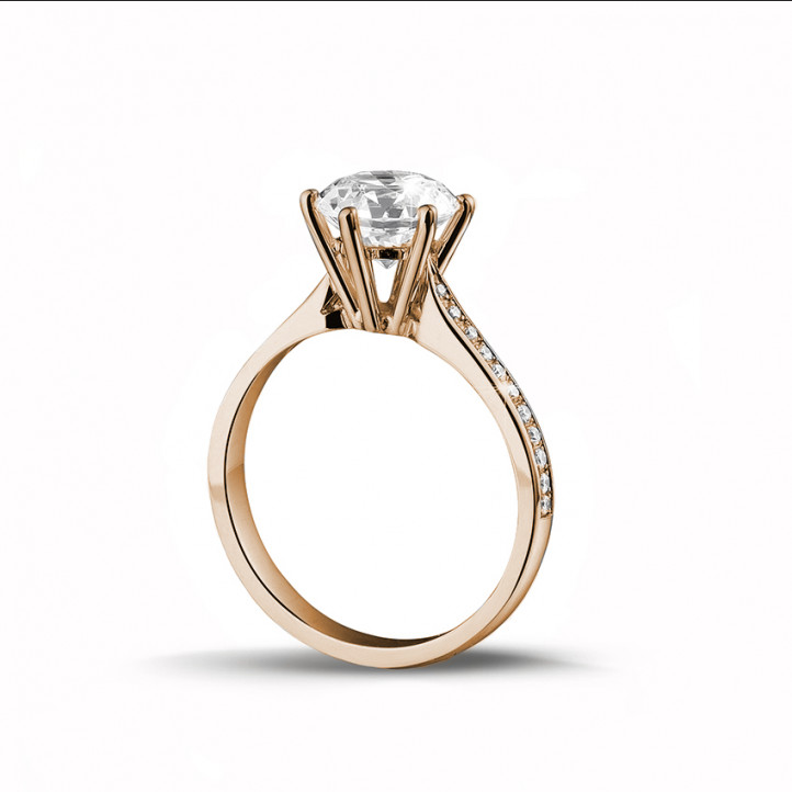 2.00克拉玫瑰金單鑽戒指- 戒托群鑲小鑽