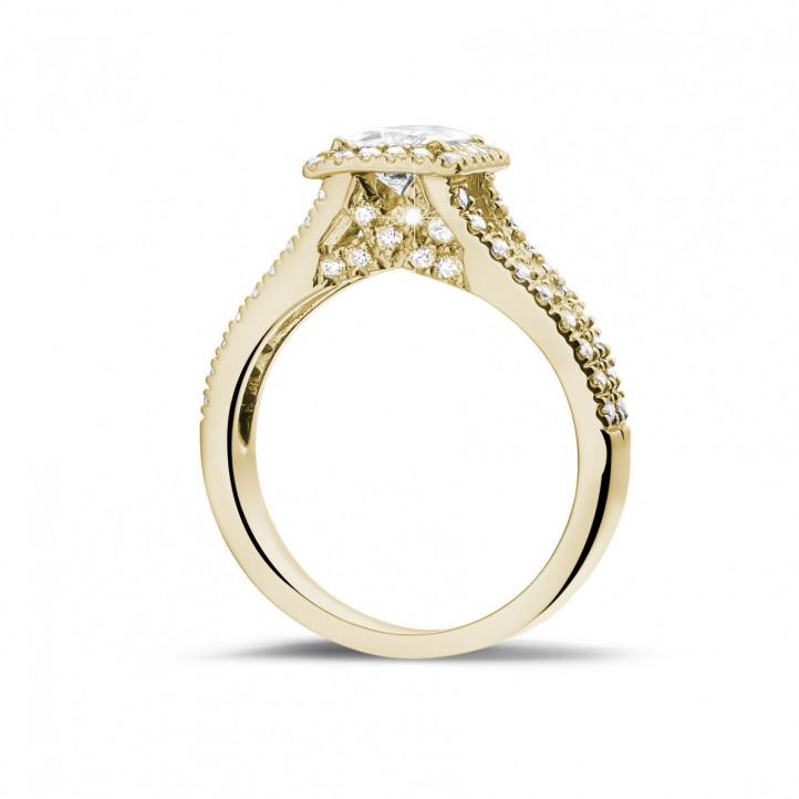 0.70克拉黄金公主方鑽戒指 - 戒托群鑲小鑽