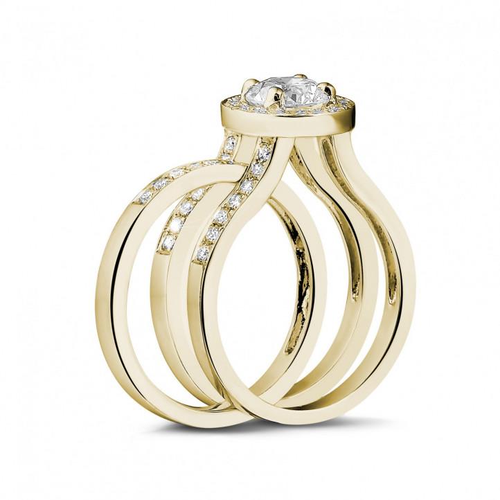 0.50克拉黄金單鑽戒 – 戒托密鑲碎鑽