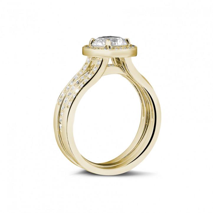 1.20克拉黄金單鑽戒 – 戒托密鑲碎鑽