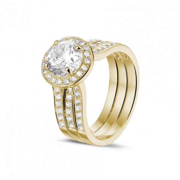 1.50克拉黄金單鑽戒 – 戒托密鑲碎鑽