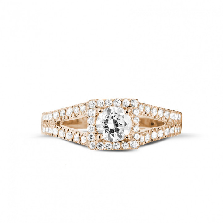 0.50克拉玫瑰金單鑽戒指- 戒托群鑲小鑽