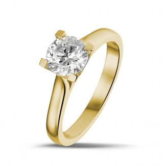 黃金鑽戒 - 0.90克拉黃金單鑽戒指