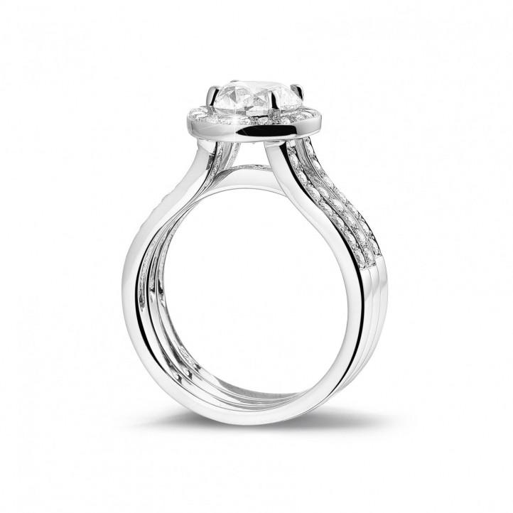 1.50克拉鉑金單鑽戒 – 戒托密鑲碎鑽