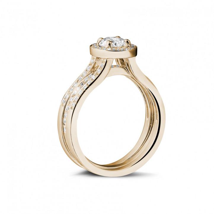 0.50克拉玫瑰金單鑽戒 – 戒托密鑲碎鑽