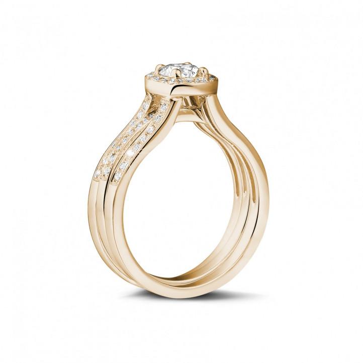 0.70克拉玫瑰金單鑽戒 – 戒托密鑲碎鑽