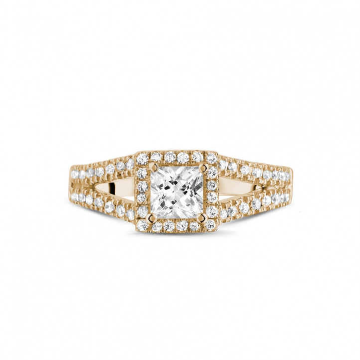 0.50克拉玫瑰金公主方鑽戒指 - 戒托群鑲小鑽