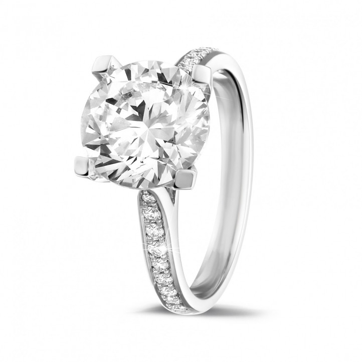 3.00克拉白金單鑽戒指 - 戒托群鑲小鑽