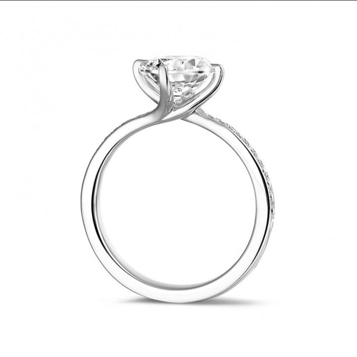 2.00克拉白金單鑽戒指 - 戒托群鑲小鑽