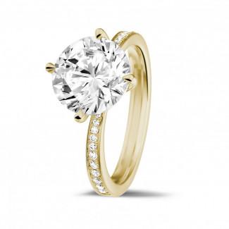 3.00克拉黃金單鑽戒指 - 戒托群鑲小鑽
