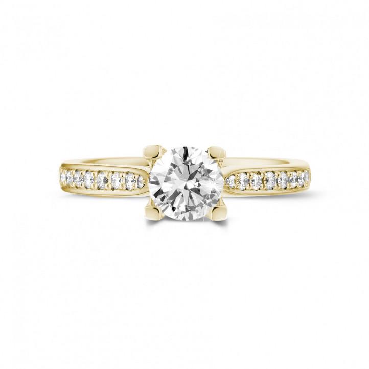 0.70克拉黃金單鑽戒指 - 戒托群鑲小鑽