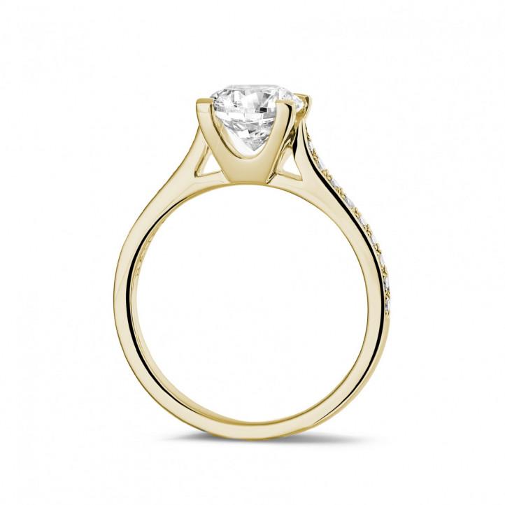 1.25克拉黃金單鑽戒指 - 戒托群鑲小鑽