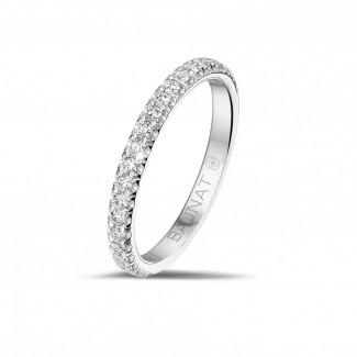 經典婚戒 - 0.35克拉白金鑲鑽婚戒(半環鑲鑽)