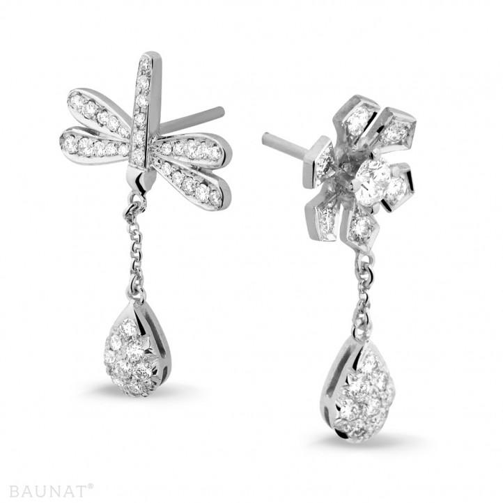 設計系列 0.95 克拉白金鑽石蜻蜓舞花耳環