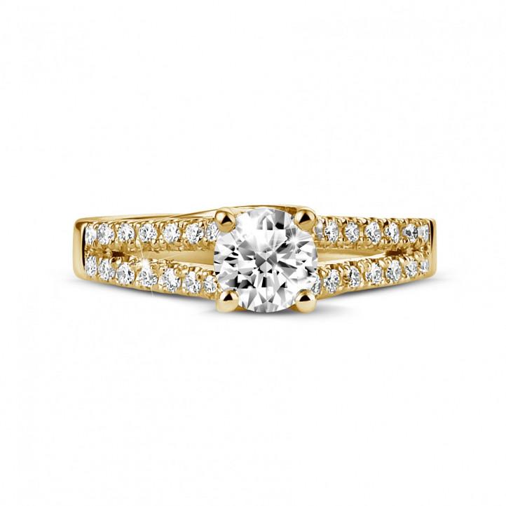 0.50 克拉黃金單鑽戒指 - 戒托群鑲小鑽