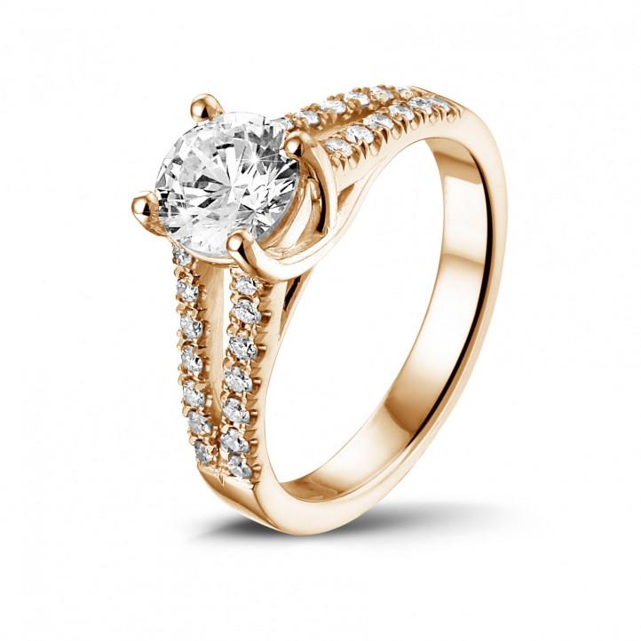 1.00 克拉玫瑰金單鑽戒指 - 戒托群鑲小鑽
