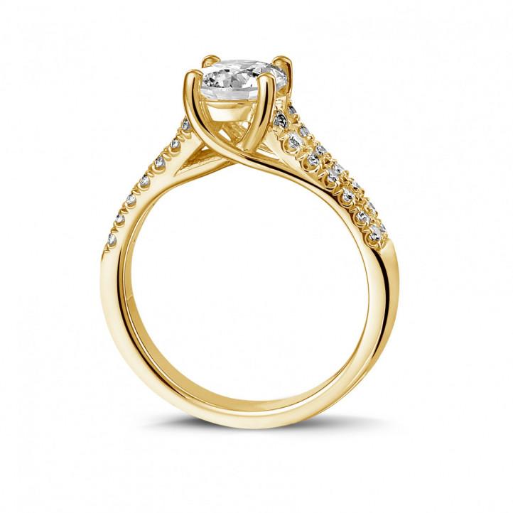 1.20 克拉黃金單鑽戒指 - 戒托群鑲小鑽