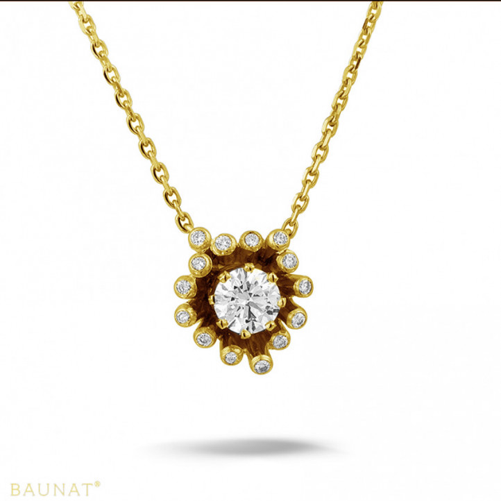 設計系列 0.75克拉黃金鑽石吊墜項鍊