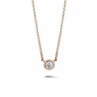 0.30克拉玫瑰金鑽石吊墜項鍊
