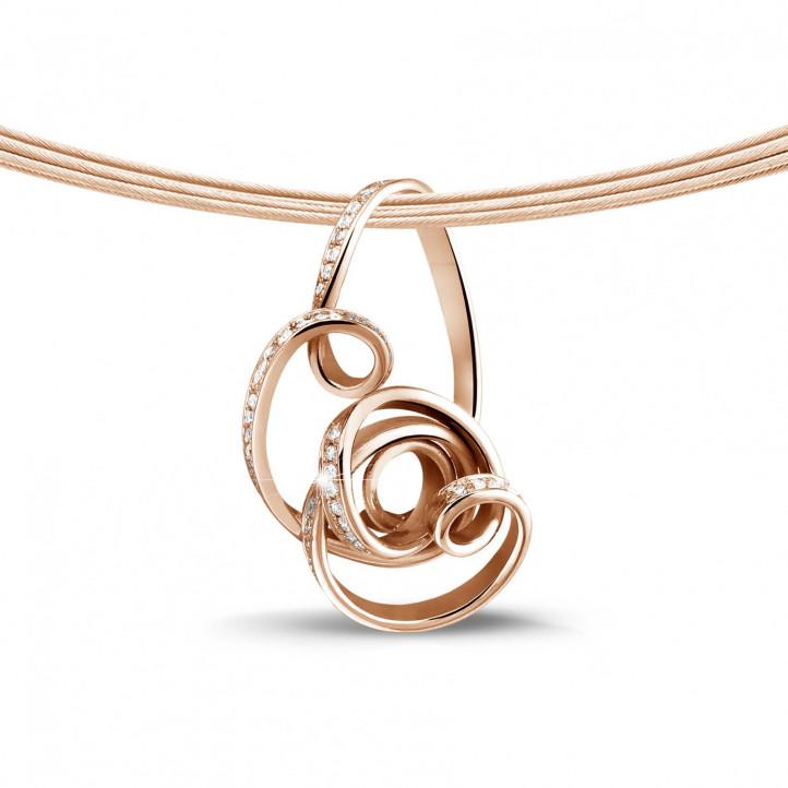 設計系列 0.80 克拉玫瑰金鑽石吊墜