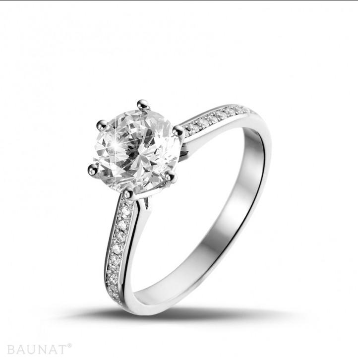 1.50克拉白金單鑽戒指- 戒托群鑲小鑽