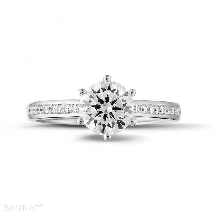 1.25克拉鉑金單鑽戒指- 戒托群鑲小鑽