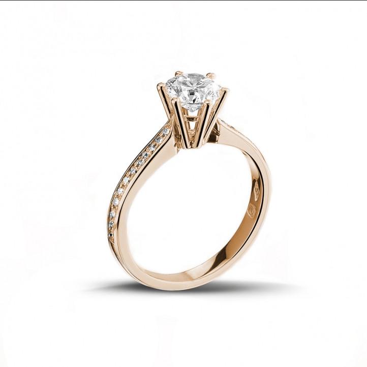 1.25克拉玫瑰金單鑽戒指- 戒托群鑲小鑽