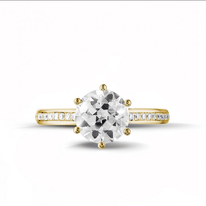 2.00克拉黃金單鑽戒指- 戒托群鑲小鑽