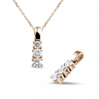 鑽石項鍊 - 三生石0.83克拉三鑽玫瑰金吊墜