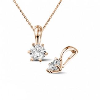 0.50克拉圓形鑽石玫瑰金吊墜