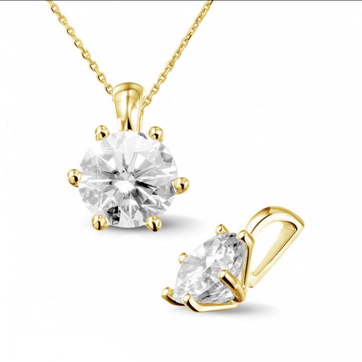 2.00克拉圓形鑽石黃金吊墜